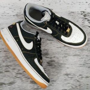 NIKE Air Force 1 '13 Black Denim Lim Ed Sneakers
